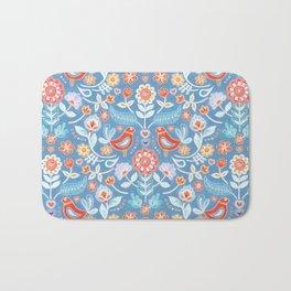 Happy Folk Summer Floral on Light Blue Bath Mat