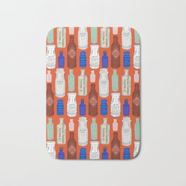 Vintage Bottle Collection Illustrated Repeat Pattern Print Bath Mat