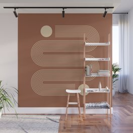 Geometric Lines in Terracotta and Beige Wall Mural