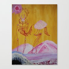 Thin Cartoon Deer Canvas Print