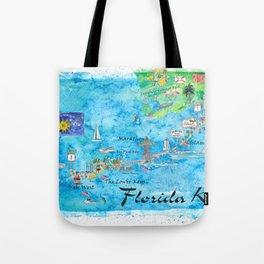 Florida Keys Key West Marathon Key Largo Illustrated Travel Poster Favorite Map Tourist Highlights Tote Bag