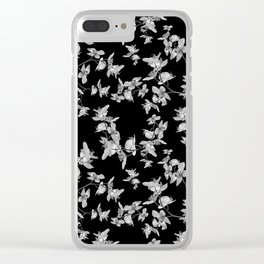 Dark Orquideas Floral Pattern Clear iPhone Case