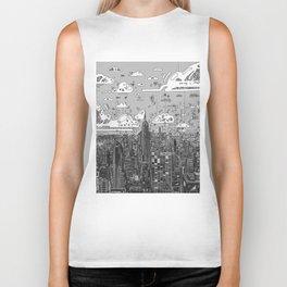 new york city skyline black and white Biker Tank