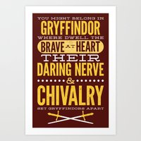 gryffindor Art Prints featuring Gryffindor by Dorothy Leigh