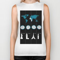 TIME ZONES. NEW YORK, LONDON, PARIS, TOKYO Biker Tank