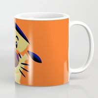 cartoons Mugs featuring Cute Orange Cartoons Tiger Apple iPhone 4 4s 5 5s 5c, ipod, ipad, pillow case and tshirt by Three Second