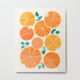 Orange Slices With Blossoms Metal Print