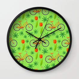 Netherlands seamless pattern with bicycle, marijana cannabis leafs and spring-flowering plant tulip Wall Clock
