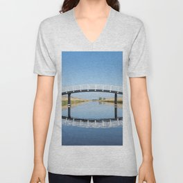 Blue and Green Symmetry - landscape photography Unisex V-Neck