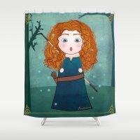 merida Shower Curtains featuring Kokeshi Merida (Brave). by Pendientera