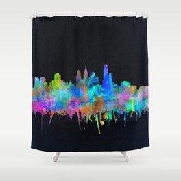 philadelphia city skyline watercolor Shower Curtain