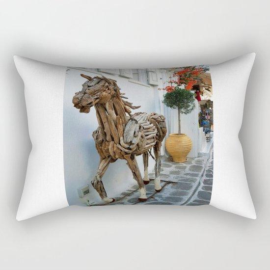 Wood horse Rectangular Pillow