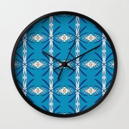 Levine deep blue and pink geo ikat Wall Clock