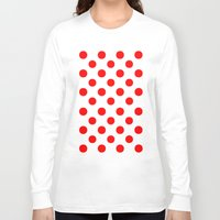 polka dots Long Sleeve T-shirts featuring Polka Dots (Red/White) by 10813 Apparel