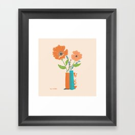California Poppies in orange and teal vases Framed Art Print