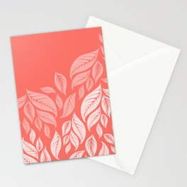 LIVING CORAL LEAVES Stationery Cards
