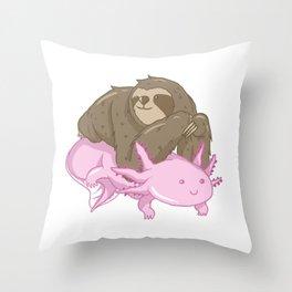 Cute Axolotl Sloth Water Aquarium Pet Animal Gift Throw Pillow