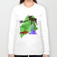 maine Long Sleeve T-shirts featuring Maine by Nova Jarvis
