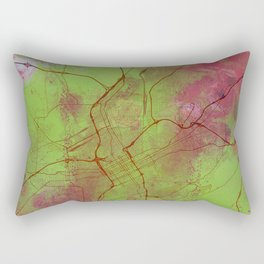 Birmingham Alabama Street Map Art Watercolor Green Pink Rectangular Pillow