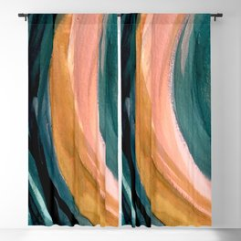 Breathe: a vibrant bold abstract piece in greens, ochre, and pink Blackout Curtain
