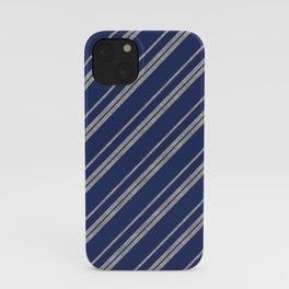 Potterverse Stripes - Ravenclaw Blue & Silver iPhone Case