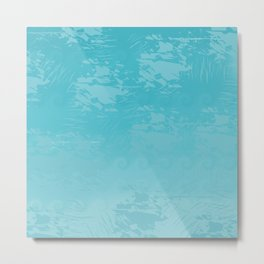 Icy Blue Abstract Metal Print
