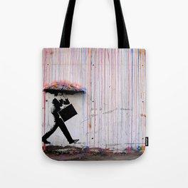 Banksy Umbrella Rainbow Tote Bag