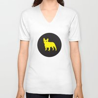bulldog V-neck T-shirts featuring Bulldog by Gonzi
