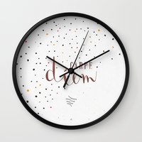 carpe diem Wall Clocks featuring Carpe Diem by Earthlightened