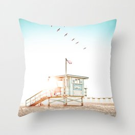 Pelicans Over the 10th Street Lifeguard Tower Throw Pillow