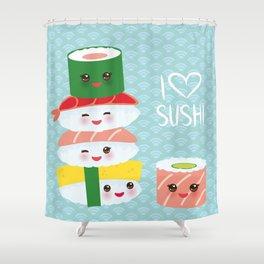 I love sushi. Kawaii funny sushi set with pink cheeks and big eyes, emoji. Blue japanese pattern Shower Curtain