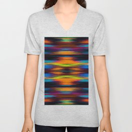 vintage psychedelic geometric abstract pattern in orange brown blue yellow Unisex V-Neck