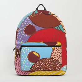 Sweet donuts set with icing and sprinkls isolated, pastel colors on chocolate Backpack
