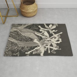 Orchid Flowers Black and White Vintage Print Rug