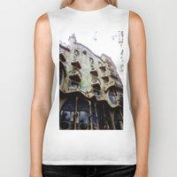 barcelona Biker Tanks featuring Barcelona by Bryony Ogilvie