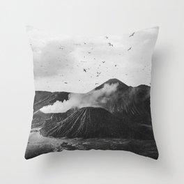 Birds Over Mount Bromo, Indonesia Black and White Throw Pillow