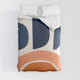 Abstract Shapes 22 in Burnt Orange and Navy Blue Comforters