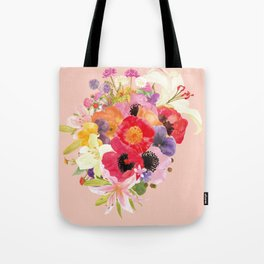 Lovely Colorful Flower Bouquet Watercolor Tote Bag