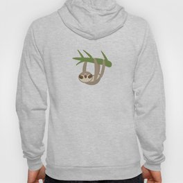 funny and cute smiling Three-toed sloth on green branch tree creeper Hoody