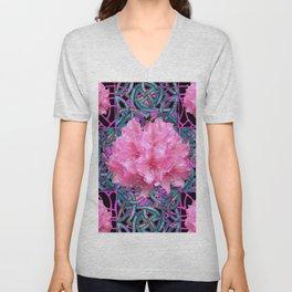 Pink Flowers Cluster Art Nouveau Nature Unisex V-Neck