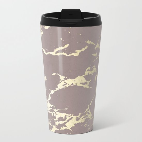 Simply Kintsugi Ceramic Gold on Red Earth Metal Travel Mug