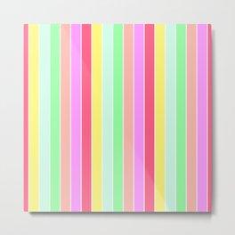 Pastel Rainbow Sorbet Deck Chair Stripes Metal Print