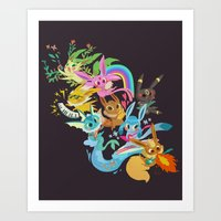 eevee Art Prints featuring Eevee Band by tinysnails