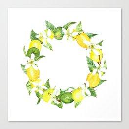 watercolor wreath lemon Canvas Print