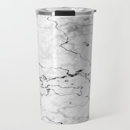 Marble White, Black and Gray Texture Abstract Photography Design Travel Mug