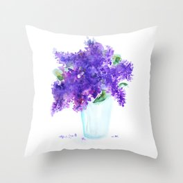 Lilac in a glass Throw Pillow