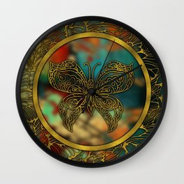 Golden Embossed Butterfly Wall Clock