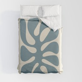 Abstract Monstera Leaf 10. Teal Duvet Cover