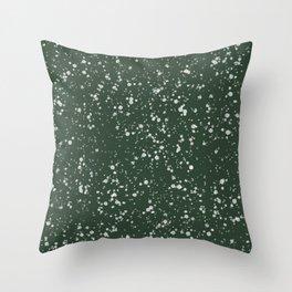 Green and White Splatter Print Throw Pillow