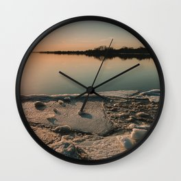 Sunset over the River Wall Clock